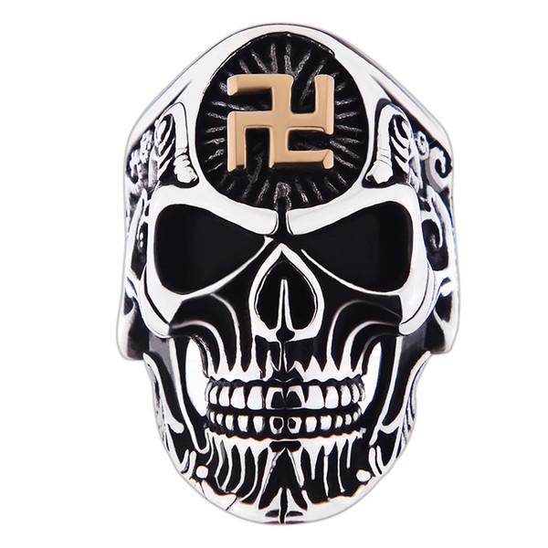 Il grande anello del cranio dell'acciaio inossidabile per gli anelli d'annata di stile dei gioielli degli uomini Anelli di alta qualità per trasporto libero