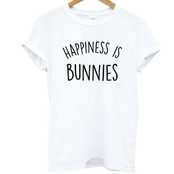 Happiness is bunnies t shirt Word short sleeve gown Quick dry sport tees Colorful clothing Quality cotton Tshirt