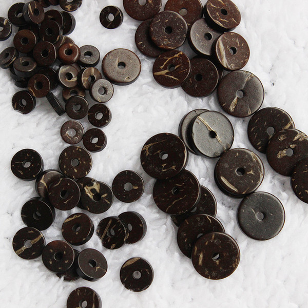 top popular 200pcs Natural Coconut Shell Spacer Beads Flat Round Loose Beads Fit DIY Bracelet Jewelry Making 2x6mm 2x8mm 2x10mm 2x12mm Size 2021