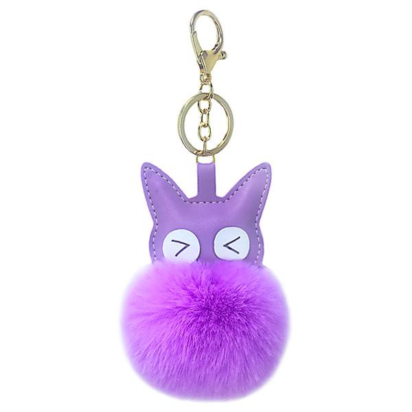 Cuero artificial de la PU ojos grandes gatito bola de piel llave hebilla pieza colgante señoras maleta bolsa llave del coche accesorios colgantes pequeño gi