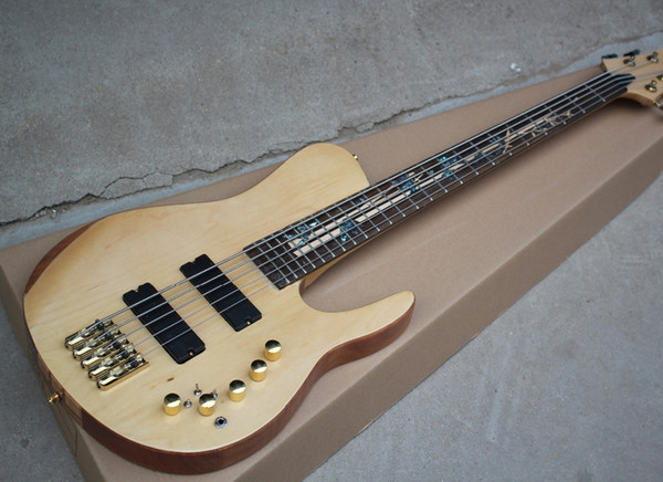 2018 Factory Custom 5-string Neck-Thru-Body Electric Bass Guitar with Rosewood Fingerboard,Gold Hardwares,Good Quality