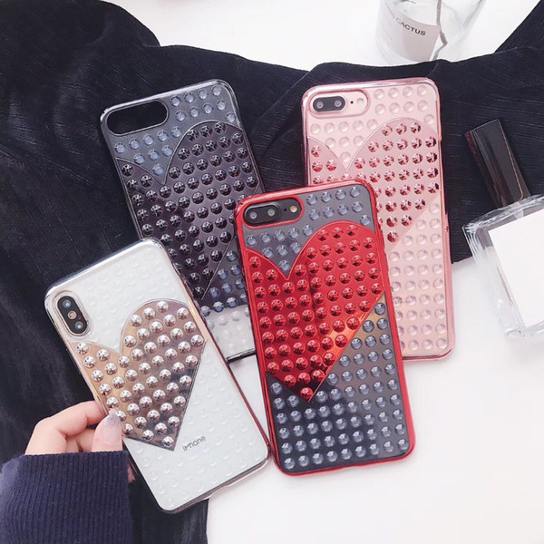 YunRT Luxury Electroplate Rivet LOVE heart Cases For iPhone 7 6 6S 8Plus Soft TPU Pretty Phone Case For iphone X Back Cover Coque