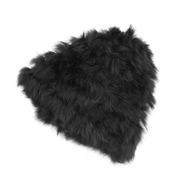 New Women Rabbit Fur Knitted Cap Ladies Knitting Wool Fur Casual Beanies Caps Cute Girls Cap Winter Thick Warm Hats
