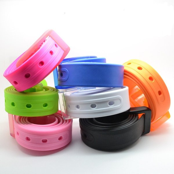 Candy Colors Silicone Rubber Leather Belt For Men And Women Waistband With Plastic Pin Buckle Belts Hot Sale 4wy BB