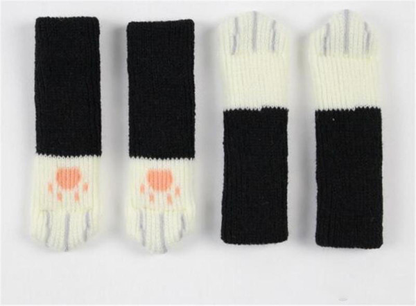 New Textiles 4pcs Knitting Cat Style Chair Leg Socks Home Furniture Leg Floor Protectors Non-slip Table Legs cover prevent cat scratching
