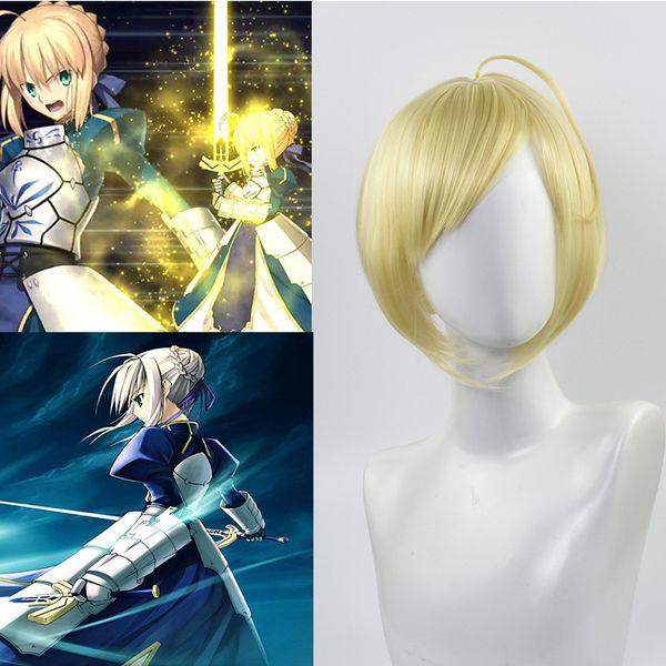 Anime Fate Altria Pendragon Girl Short Side Bang Cosplay Party Rubio resistente al calor peluca sintética del pelo