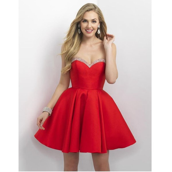 Free Shipping New Red Sequined Homecoming Dresses Cheap A-Line Strapless Graduation Gowns Knee Length Satin Short Prom Dress For Juniors