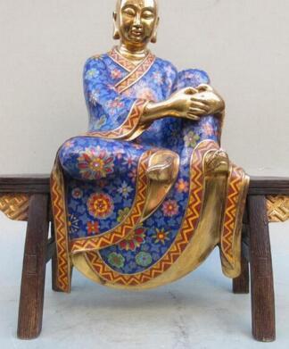 Bi002456 Çin 100% saf bronz Emaye Işi 24 K Altın tezgah arhat Jizo Buda heykeli