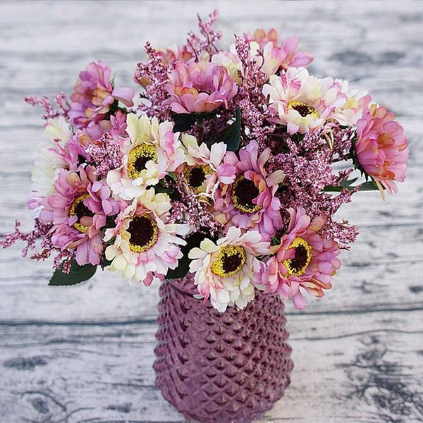 10 heads/1 bundle Painting Victoria Silk Chrysanthemum European Artificial Flowers Home Garden Wedding Christmas Accessories 10pcs