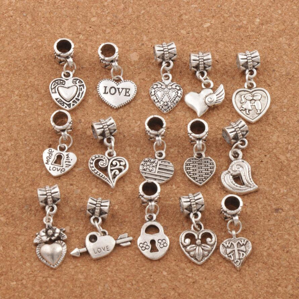 top popular 150pcs lot Antiqued Silver Assorted Heart Dangles Beads Fit European Charm Bracelet Jewelry DIY Metal BM6 2020