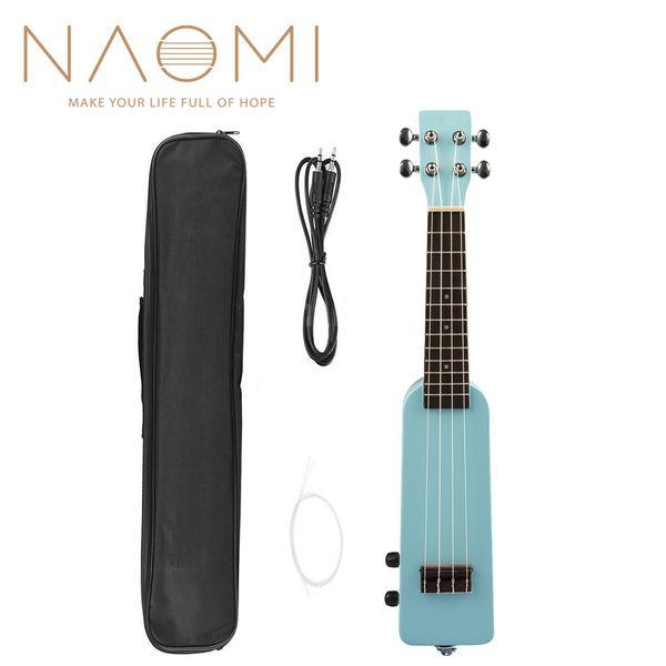 """best selling NAOMI 21"""" Okoume Electric Ukulele Ukelele Uke Kit W Gig Bag 3.5mm Audio Cable Silent Electric Ukulele Soprano Uke-Blue"""