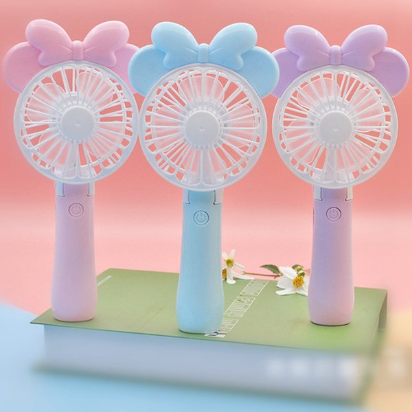 Mini Folding Portable Fan Cartoon Mouse USB Rechargeable Foldable Handheld Summer Air Cooler Cooling Fan Portable Fan 30pcs OOA4920