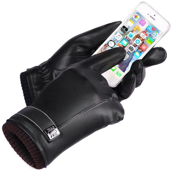 Leather Gloves Men's Winter Gloves Touch Screen Windproof Keep Warm Driving Guantes Male Autumn and Winter Leather Gloves Black D18110705