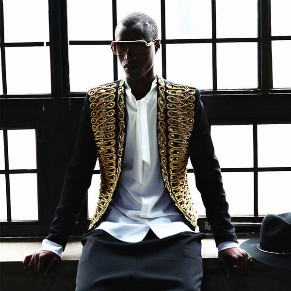 fb738a4cd20 Luxury Baqoue Seqin String Blazer Men Party Stage DJ Jacket Men Performance  Gold Black Outft