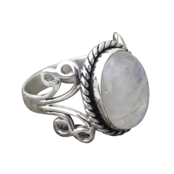 2018 New Arrival 1PC Boho Jewelry Silver Natural Moonstone Personalized Ring Gift Amazing hot sale Mar 20