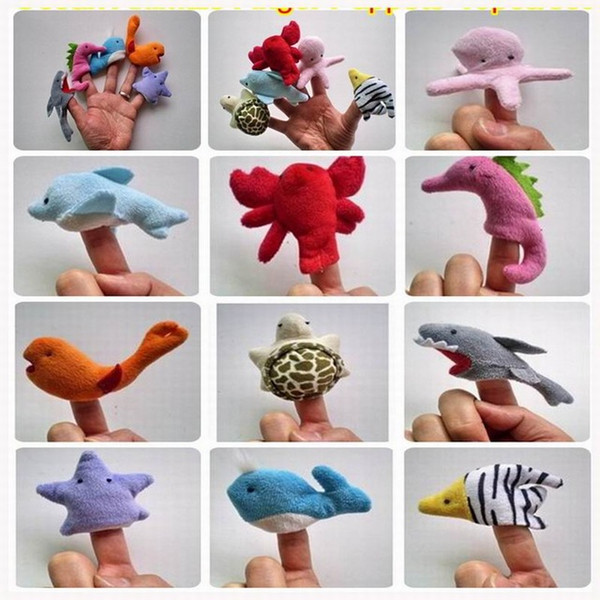 High Quality Ocean Animals Finger Puppets Plush Toys Family Story Telling Play Hand Puppets Dolls Baby Kids Educational Doll 10pcs/lot