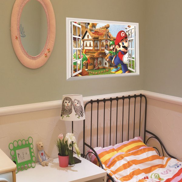 Wholesale 3D Window Cartoon Castle home decals wall sticker for kids room bedroom mural poster Free shipping