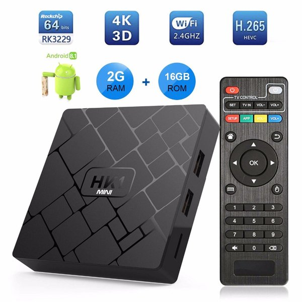 HK1 Mini SMART TV BOX Android 8 1 2GB 16GB RK3229 Quad Core Set Top Box  H 265 4K HDMI 2 4G WiFi Media Player App Tv Box Digital Boxes For Tv From