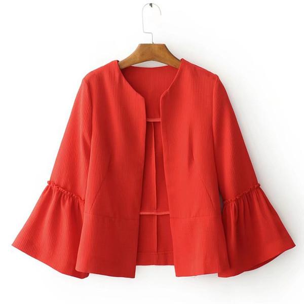 Mujeres elegante chaqueta sólida diseño de la puntada abierta manga flare abrigos negro rojo damas marca casual prendas de vestir exteriores tops