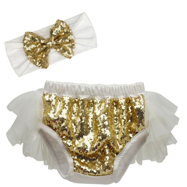 Boutique baby girls sequin suit bow tutu dress princess short pants +headband set 2pcs/lot pants kids clothes