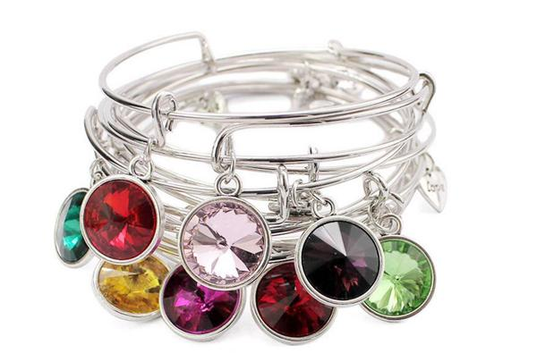 12 colored Birthdaystone crystal pendant bangle charm expandable wire bracelet for women gifts
