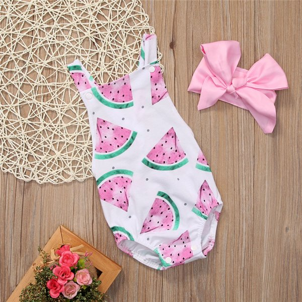 Kids Baby Girl Clothes Sets 2pcs Headband with Water Melon Romper Sleeveless Summer Toddler Infant Jumpsuit One-piece Outfit