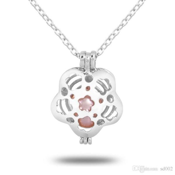 Cadena clavicular colgante de ostras naturales con perlas de imitación deseo colgantes de la joyería collar de diseño ahuecado mujeres 2 8xb BB