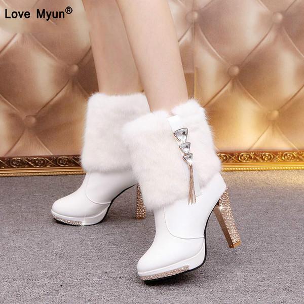 Bling tacco alto stivali di pelliccia di coniglio donne peluche scarpe piattaforma calda elegante cristallo signora festa di nozze scarpe col tacco alto fgb78