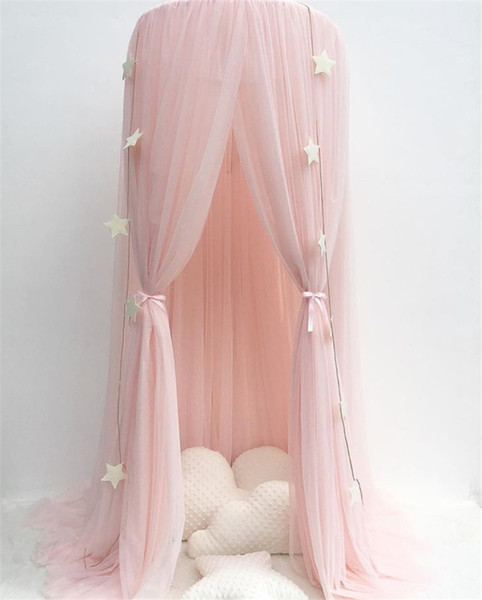 Princess Bed Pink Canopy Mosquito Net Yarn Play Tent Bedding for Kids Playing Reading Dome Netting Curtains Baby Boys and Girls Games Room