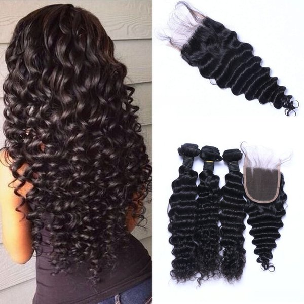 Indian Human Hair Bundle with Lace Closure 3 Bundles Remy Hair Deep Wave with Closure Piece Free Part Ping
