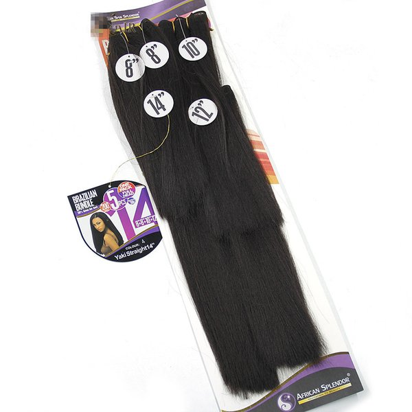 paquetes de pelo sintético Yaki Straight Hair Weave Bundles Kinky Straight 8-14 pulgadas Black Synthetic Sew In Extensiones de cabello Afro Double Weft