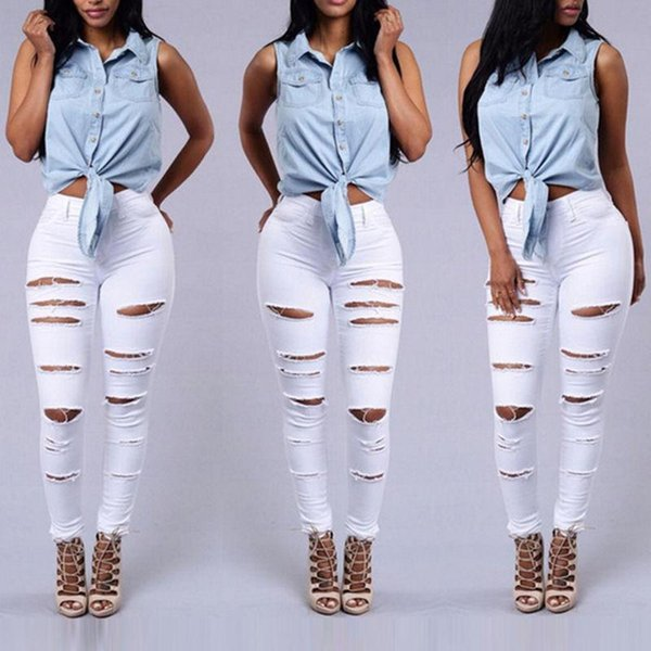 Wholesale- Women Denim Skinny Ripped Pants Hole Stretch Sexy Ripped Jeans High Waist Long White Black Pencil Trousers