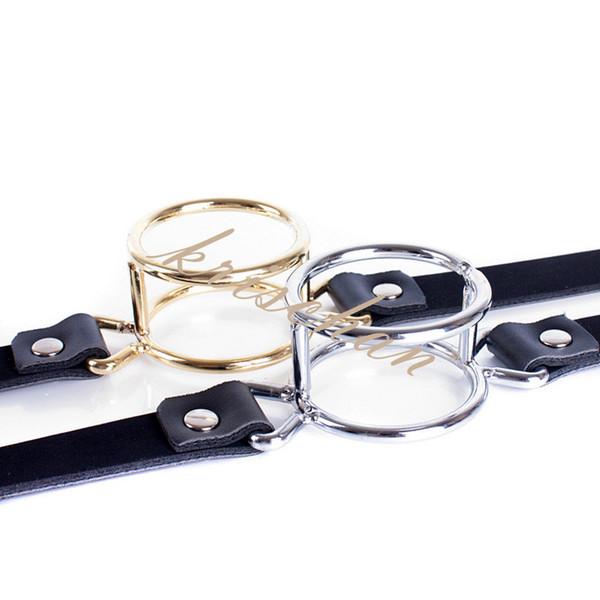 Metal Double Loop Mouth Open Gag Blow Job Strap Adjustable Lockable Belt Slave Training BDSM Bondage Gear
