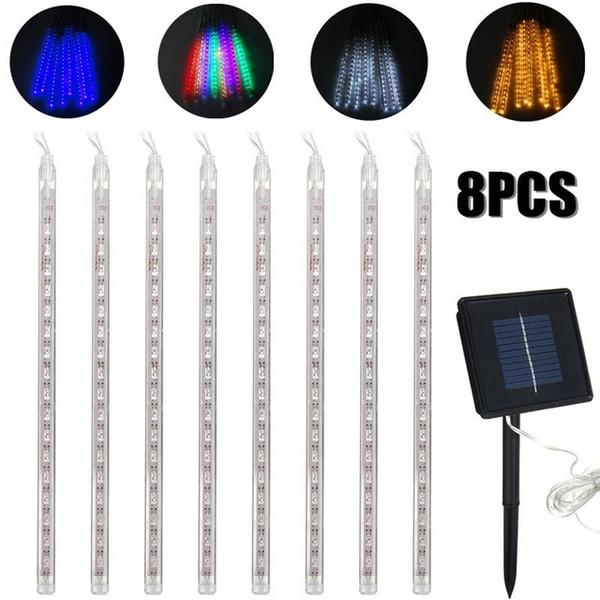 best selling Edison2011 8PCS 30cm LED Strip Light Bulbs Shower Rain Lights Solar Powered Meteor Shower Waterproof Garden Light Lamp for Holiday Decoraton