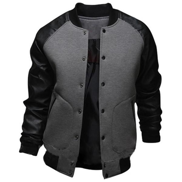Cool College Baseball Jacket Men 2017 Fashion Design Black Pu Leather Sleeve Mens Slim Fit Varsity Jacket Brand Veste Homme Xxl