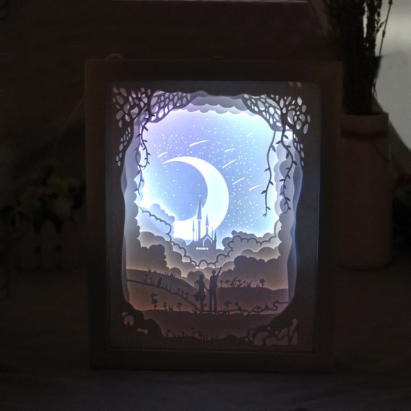 Papercut Light Box LED USB Night Light Lampada Dipinti Creativi Moon Lovers