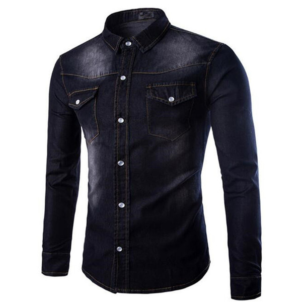 Plus Size Male Denim Shirts Elegant Men Party Shirt Long Sleeve Boys Korean Style Slim Blouse Gentleman Blusa Club Clothing 5XL