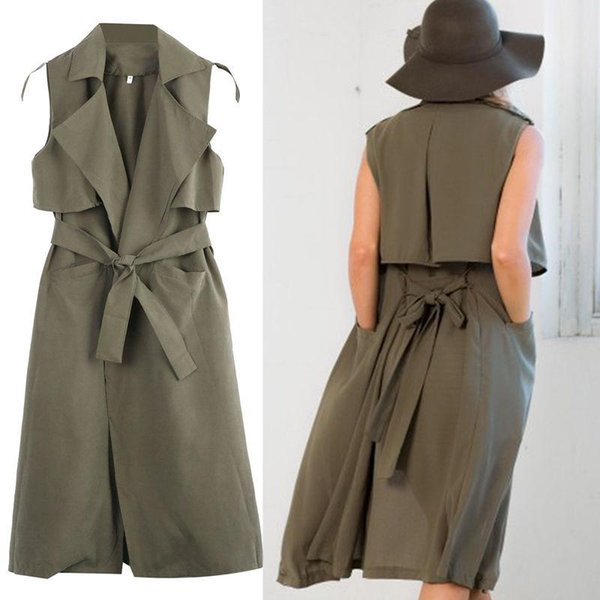 Wholesale- Ladies Double Layers Long Duster Jacket Womens Sleeveless Belt Coat