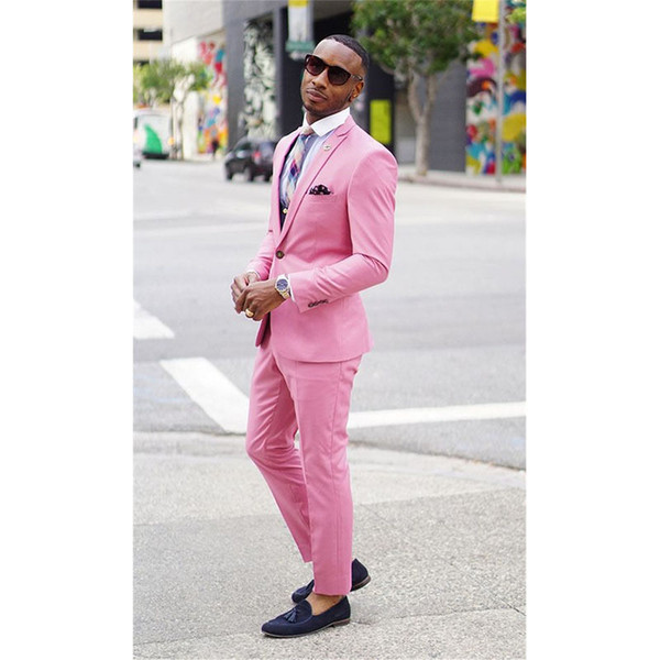 Men's fashion new suit two-piece suit (coat + pants +) men's pink single buckle gun collar collar suit wedding groom groomsmen dress