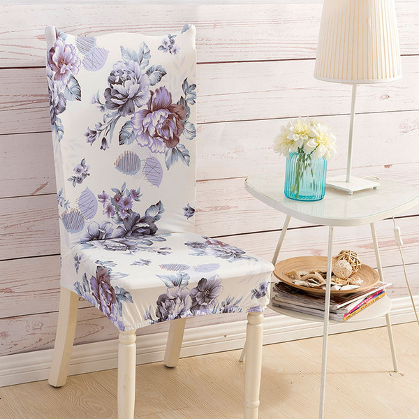 1 Pc Spandex Elastic Floral Print Removable Chair Covers Dustproof Stretch Dining Hotel Banquet Party Seat Cover Home Decoration