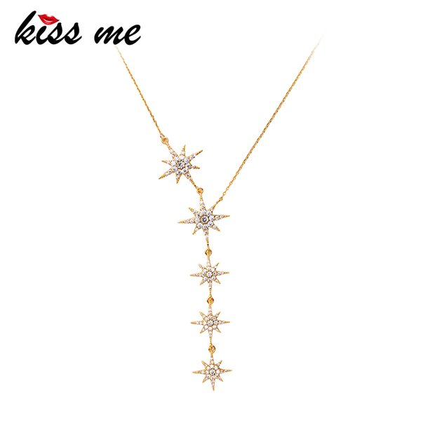KISS ME Nuevo Collar Colgante Moda Coreana Color Oro Cobre Circón Estrellas Collares para Mujeres Accesorios de Boda