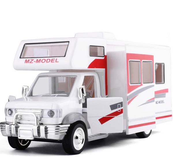 New 1:28 RV furniture assembled more doors open sound and light back to the force alloy car models, children's play house toys