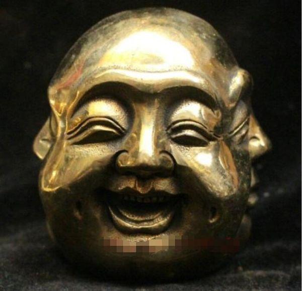 Buddismo cinese Bronzo Ottone 4 superficie Emozioni Statua di Buddha Maitreya
