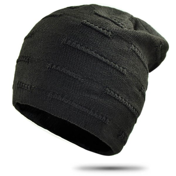 Hip Hop Beanies for Men Simple Solid Knitted Winter Hat Women Thick Warm Skullies Slouchy Baggy Cap