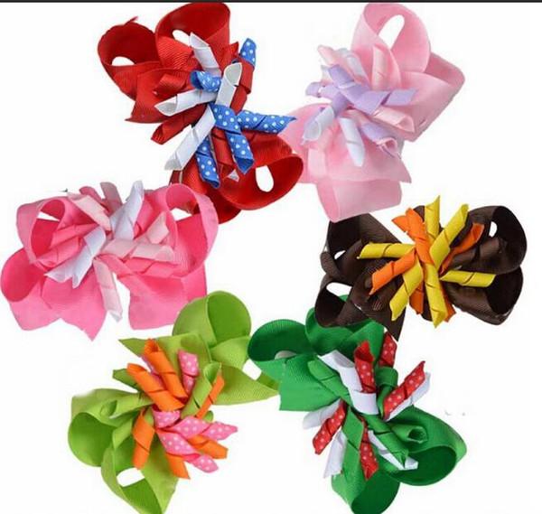 50pcs Girl curly ribbon headwear korker bows clip hair bows layered corker M2MG princess school Hairclips accessories PD016