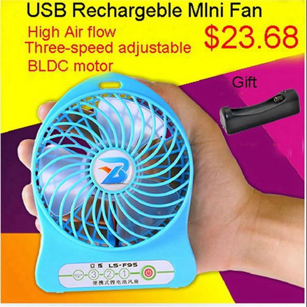 [RedStar] USB aufladbare Mini Fan Geschenk-Set 3-Gang-einstellbar gehören 2200mAh 18650 Akku und Ladegerät Einzelhandel Pack BLDC Motor