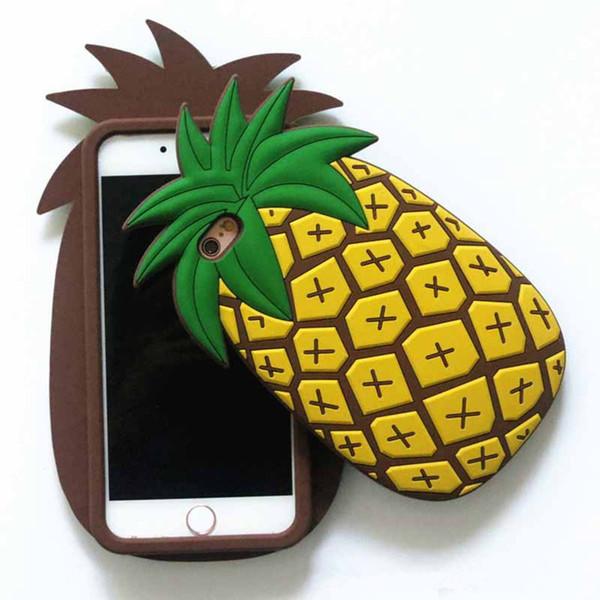 Housses Téléphones Portables étui En Caoutchouc De Silicone Doux Dananas De Dessin Animé Mignon De Fruit De Dessin Animé 3d Frais Jaune Jaune Pour