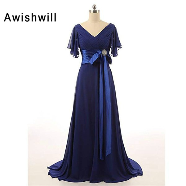 Modest Mother of The Bride Dresses V Neck Short Sleeves Chiffon Custom Plus Size Formal Evening Dress for Women Dinner Gown