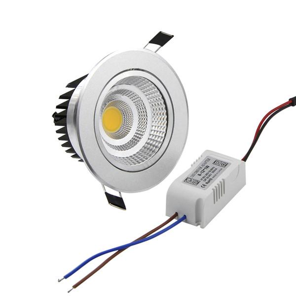 Argento Ultra splendida Dimmable LED COB Downlight AC110V 220V 6W / 9W / 12W / 15W da incasso a LED Spot Light Decoration Lampada da soffitto