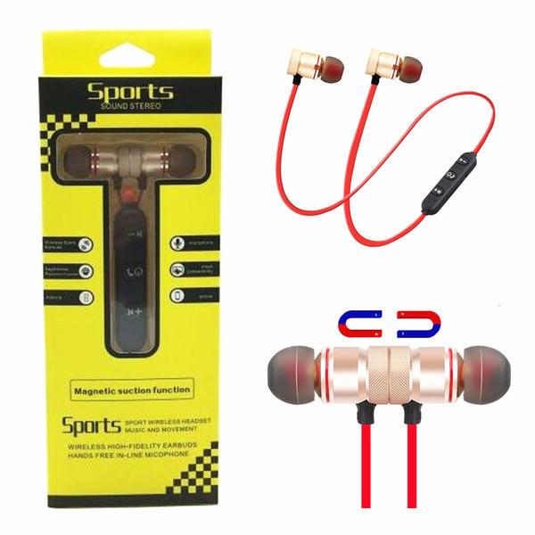 Auriculares inalámbricos de Bluetooth Auriculares magnéticos de metal B T 4.1 Corriendo Sport auriculares auriculares con micrófono Earbud para iphone Samsung Smartphone